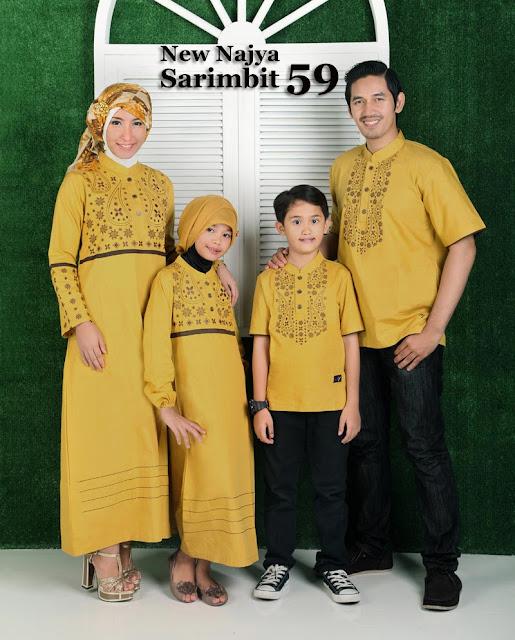 Model Desain Baju Lebaran Keluarga Warna Kuning
