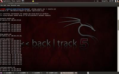 dnsmap screenshot
