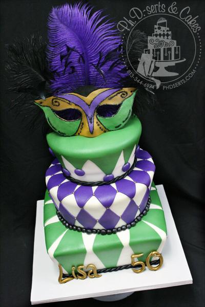 50th Masquerade Birthday Cake Mardis Gras Green Purple White Black Gold