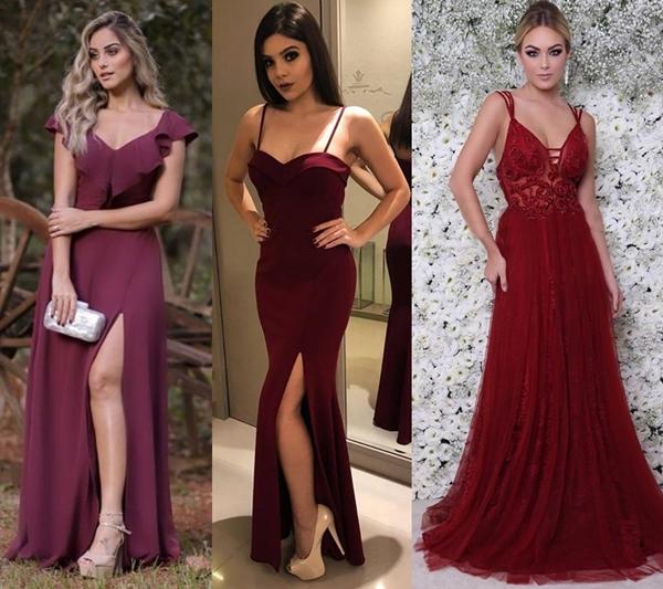 10 vestidos de festa marsala e vermelho
