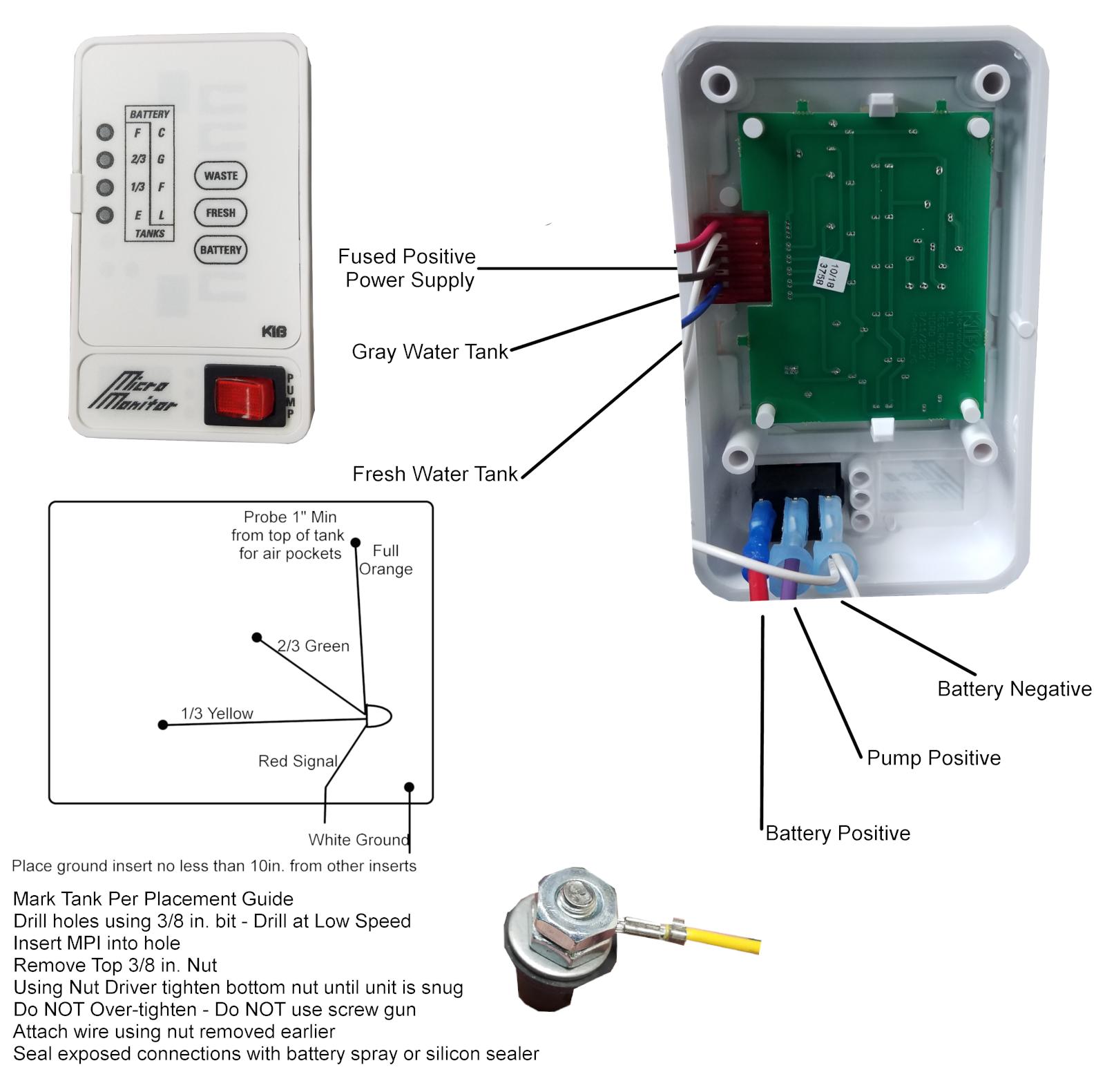 hight resolution of kib 2 tank monitor panel 12 volt white face plate