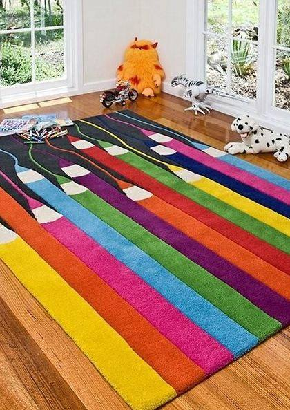Colourful Kids Pencils Rug