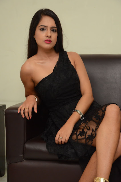 Malvi Malhotra Latest Hot Cleveage Spicy Oneside Black Short Skirt PhotoShoot Images