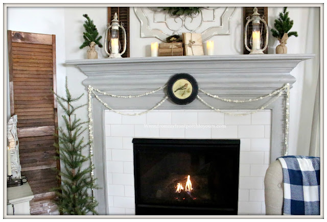 Winter Mantel-French Country-Farmhouse-Cottage-Style-Buffalo Check-From My Front Porch To Yours