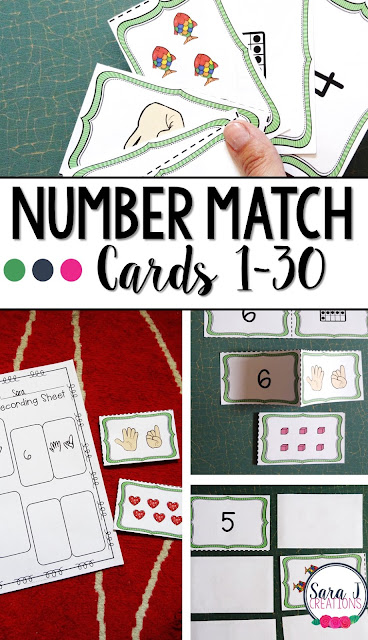 Number match cards are perfect for counting practice and learning different ways to make the same number.  Great for kindergarten.