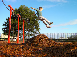 mountain of wood chips for soft landing flying through the air