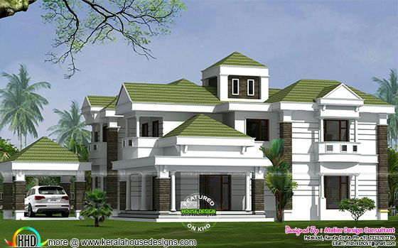 Colonial model green roof home