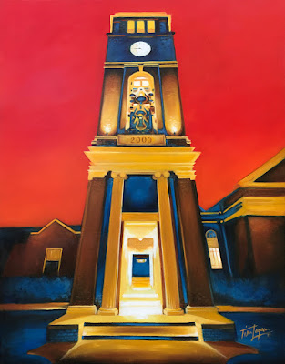 Red Sky at Night: Peddle Bell Tower, University of Mississippi, by Tim Logan