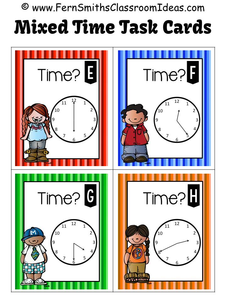 Fern Smith's Classroom Ideas FREE Telling Time Task Cards - Mixed Time To the Five Minutes Task Cards.