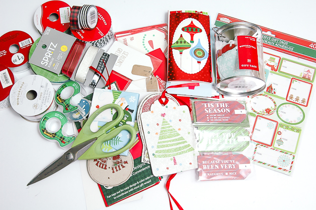 holiday gift wrap supplies, tags, ribbon, money holders