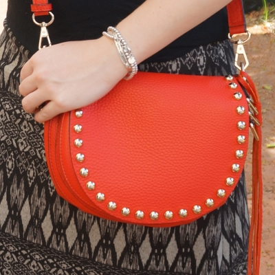 AwayFromTheBlue | Rebecca Minkoff unlined saddle bag in cherry red printed maxi skirt