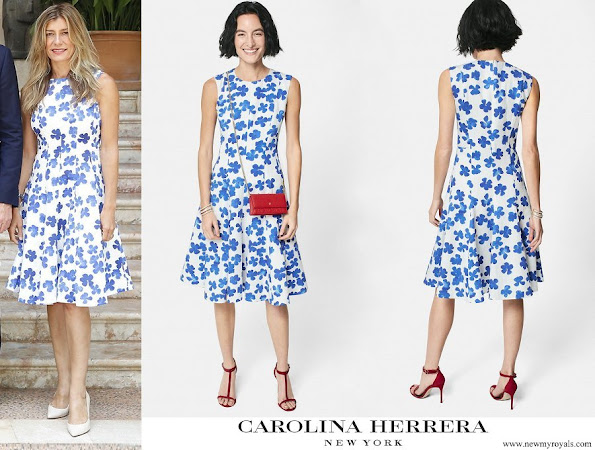 Maria Begona Gomez Fernandez wore Carolina Herrera printed brocade dress