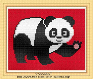 Panda, Free and easy printable cross stitch pattern