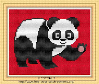 panda cross stitch pattern for free