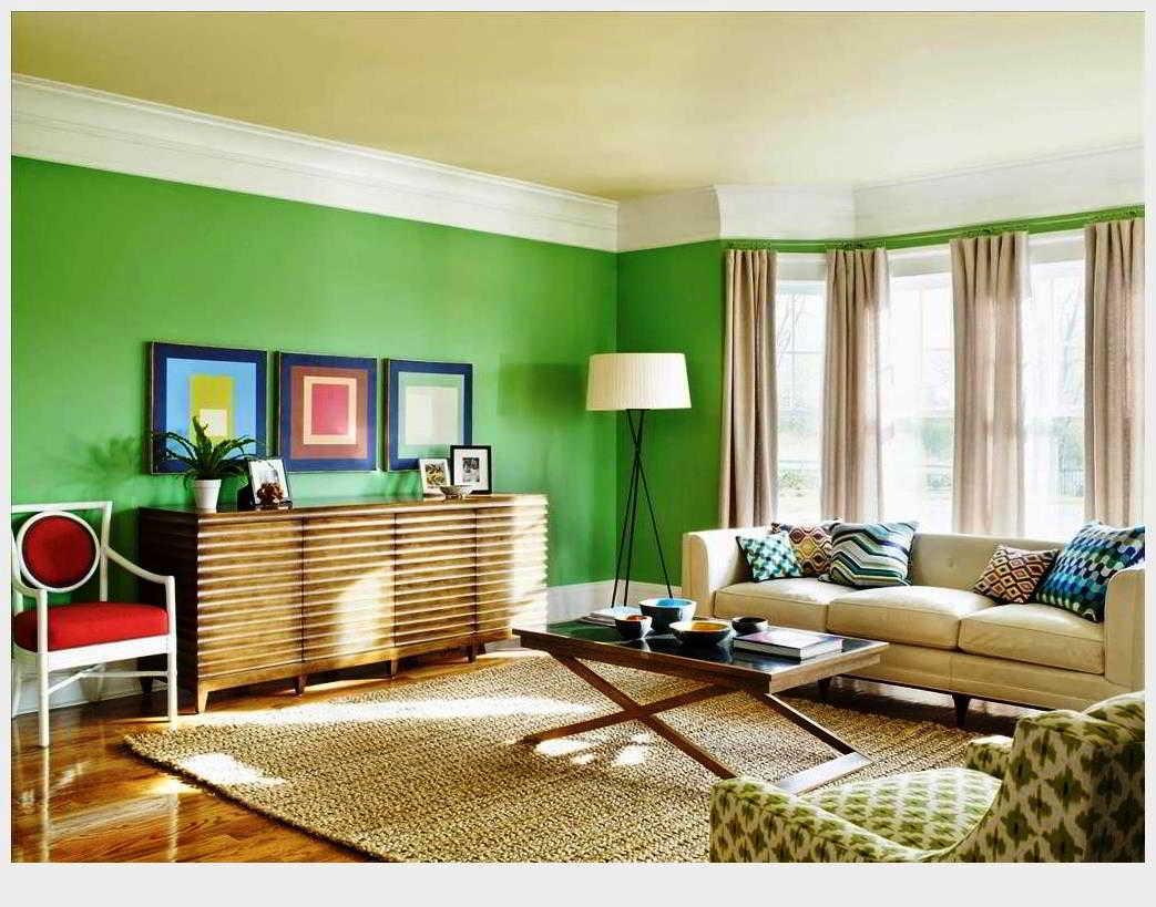 Cat Rumah Ruang Keluarga Wallpaper Ruang Tamu Tema Hijau Desainrumahid