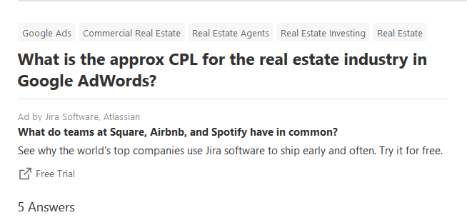 screenshot of quora forum question on real estate cost per lead