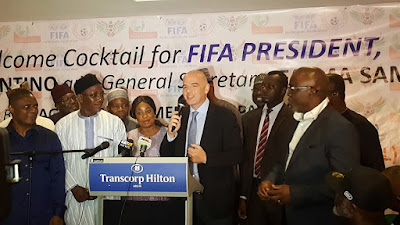 Photos Of FIFA President And His Team At The Transcorp Hilton In Abuja