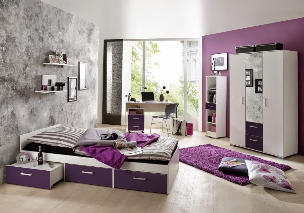 Habitaciones para adolescentes en color morado for Cuarto color
