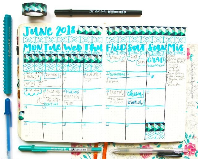 June bullet journal monthly spread at the end of the month