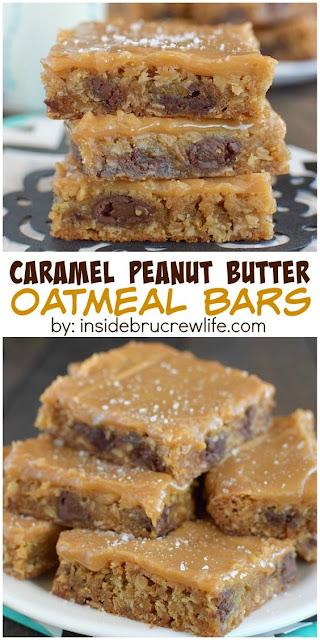 Caramel Peanut Butter Oatmeal Bars | FoodGaZm..