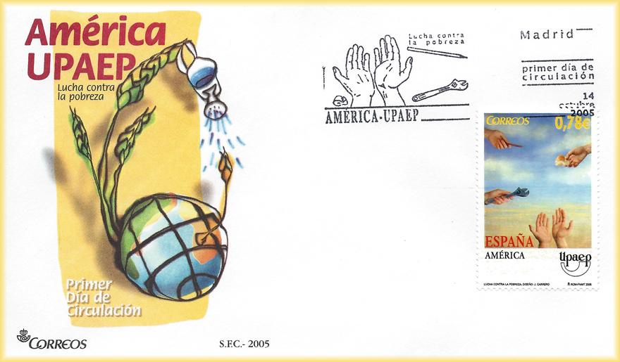 Sobre y sello de la serie América UPAEP 2005 con el tema Lucha contra la pobreza y diseño de JCarrero