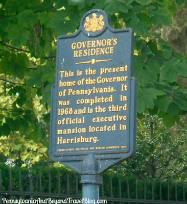 Governor's Residence Historical Marker in Harrisburg Pennsylvania