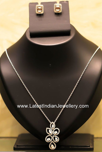 elegant diamond pendant set