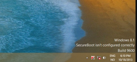 secureboot isn't configured correctly build 9600 watermark