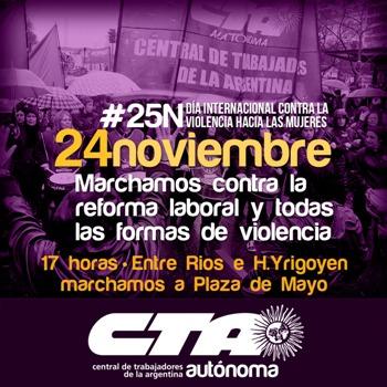 La CTA Autónoma ganará las calles de todo el país para volver a gritar basta de violencia hacia las mujeres