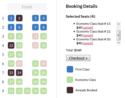 jQuery Seat Charts To Display Seat Map Library For Ticket