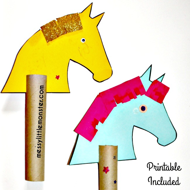 Simple hobby horse craft using recycled cardboard tubes:free printable