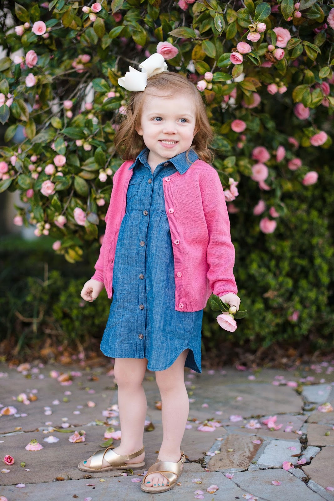 Toddler Fashion: Chambray Dress with Pink Cardigan - Click through to see the full post + outfit details on Something Delightful Blog
