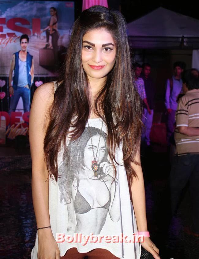 Pooja Chopra, Hot Amisha Patel in White Dress at Desi Magic Poster Launch
