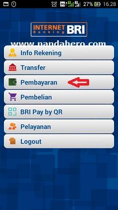 1. cara pembayaran via briva di internet banking