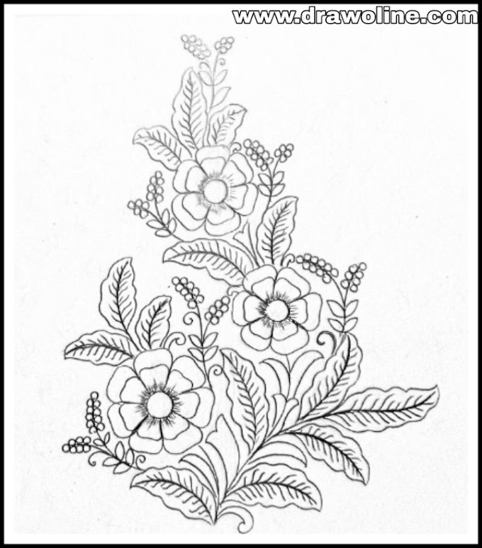 Hand embroidery and machine emroidery flower design drawing on tracing paper.