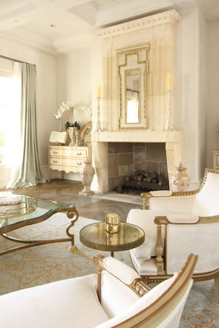 bergere chair gilded frame white linen gorgeous living room