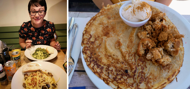 To the left is an image of a woman eating a plate of pasta. To the left is an image of Pancakes covered in cream, stewed apples and cinnamon