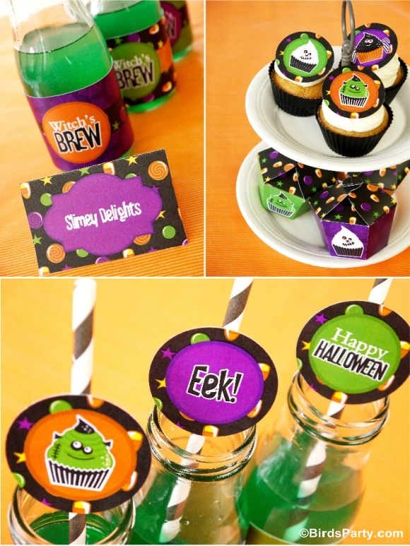 Little Monsters Halloween Cupcake Shop & Printables - BirdsParty.com