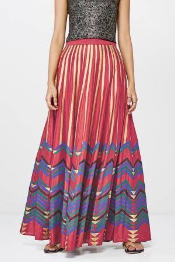 Red Chevron Print Festive Skirt