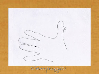 A picture of a hand used in a drawing of a bird.