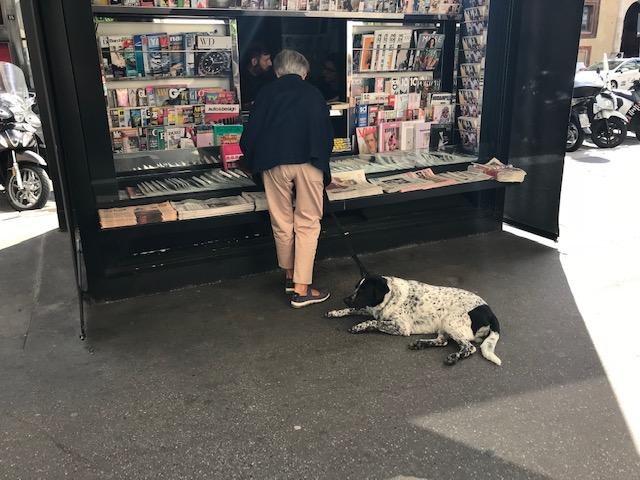 ミラノの街のキオスクで買物をするおじさんとそれを待つ犬