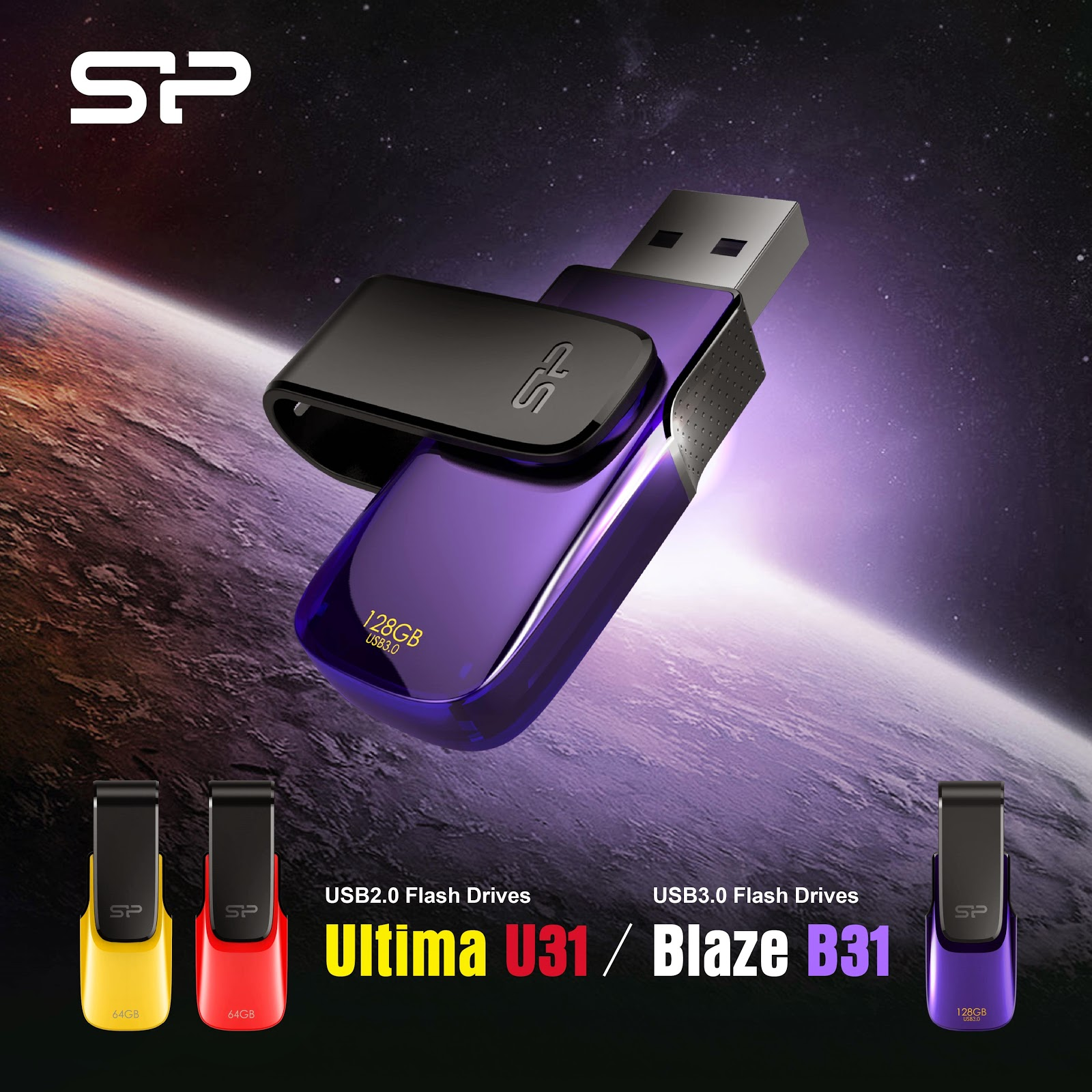 SP Ultima U31 and Blaze B31 Swivel USB flash drives
