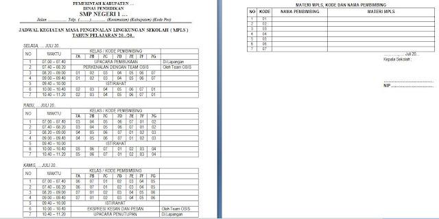 contoh jadwal kegiatan mpls smp