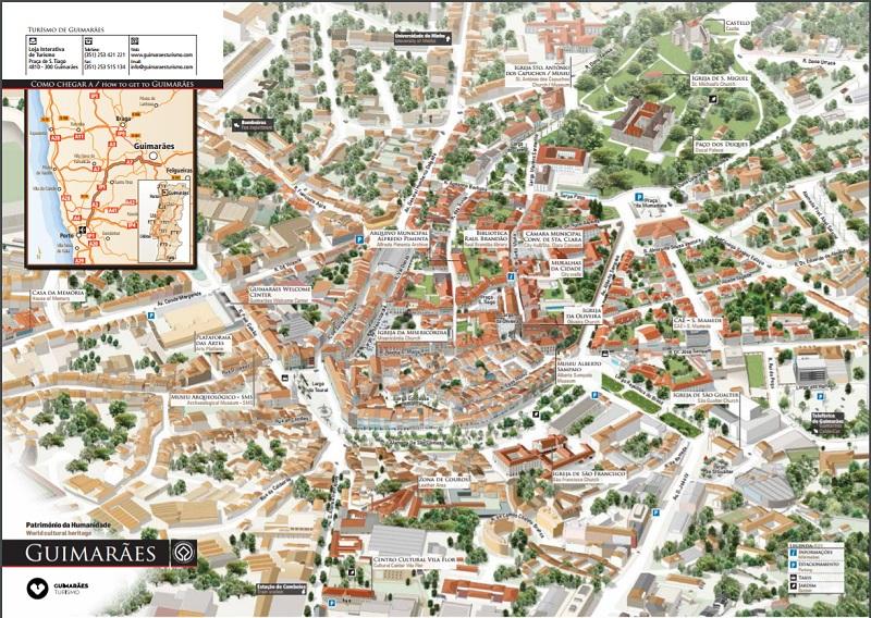 mapa ruas portugal Mapa turístico de Guimarães | Dicas de Lisboa e Portugal mapa ruas portugal