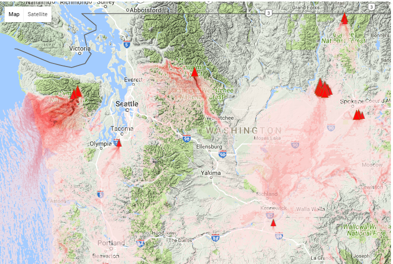Spokane Wildfire Map.Washington Smoke Information Statewide Smoke Forecast Through Friday