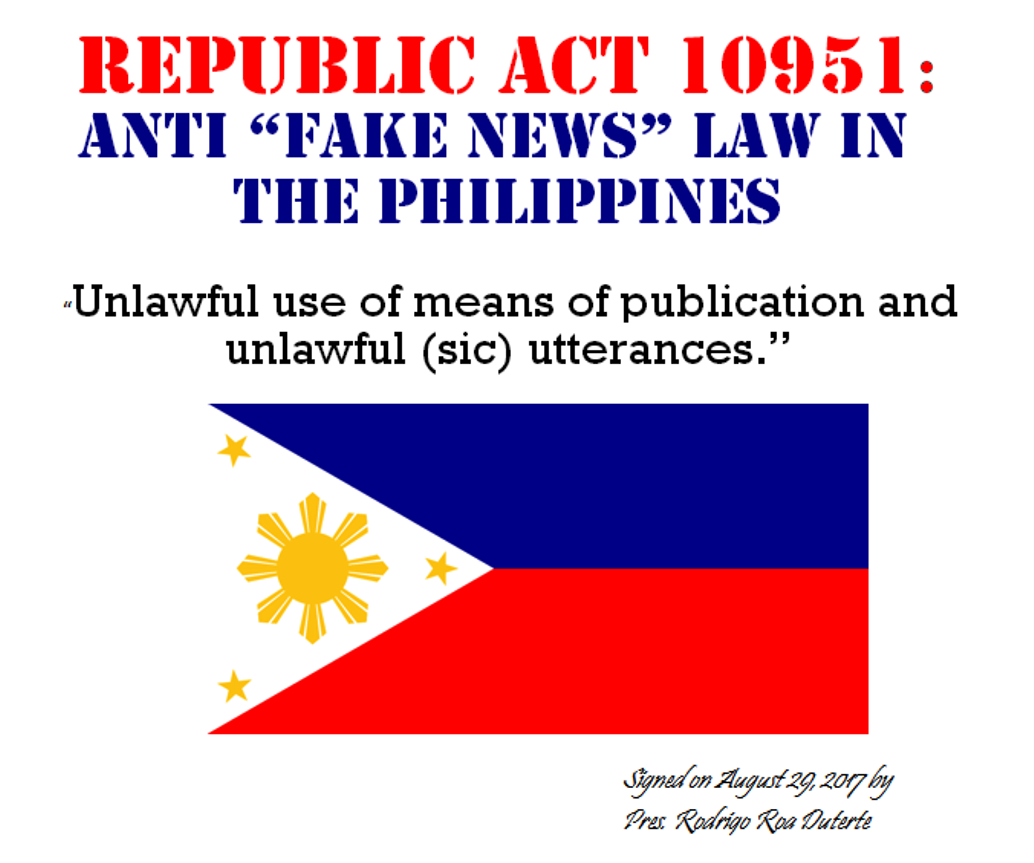 Republic Act (RA) 10951 Anti Fake News Law in the Philippines - Penalty up to ₱20 Million, 20 years imprisonment