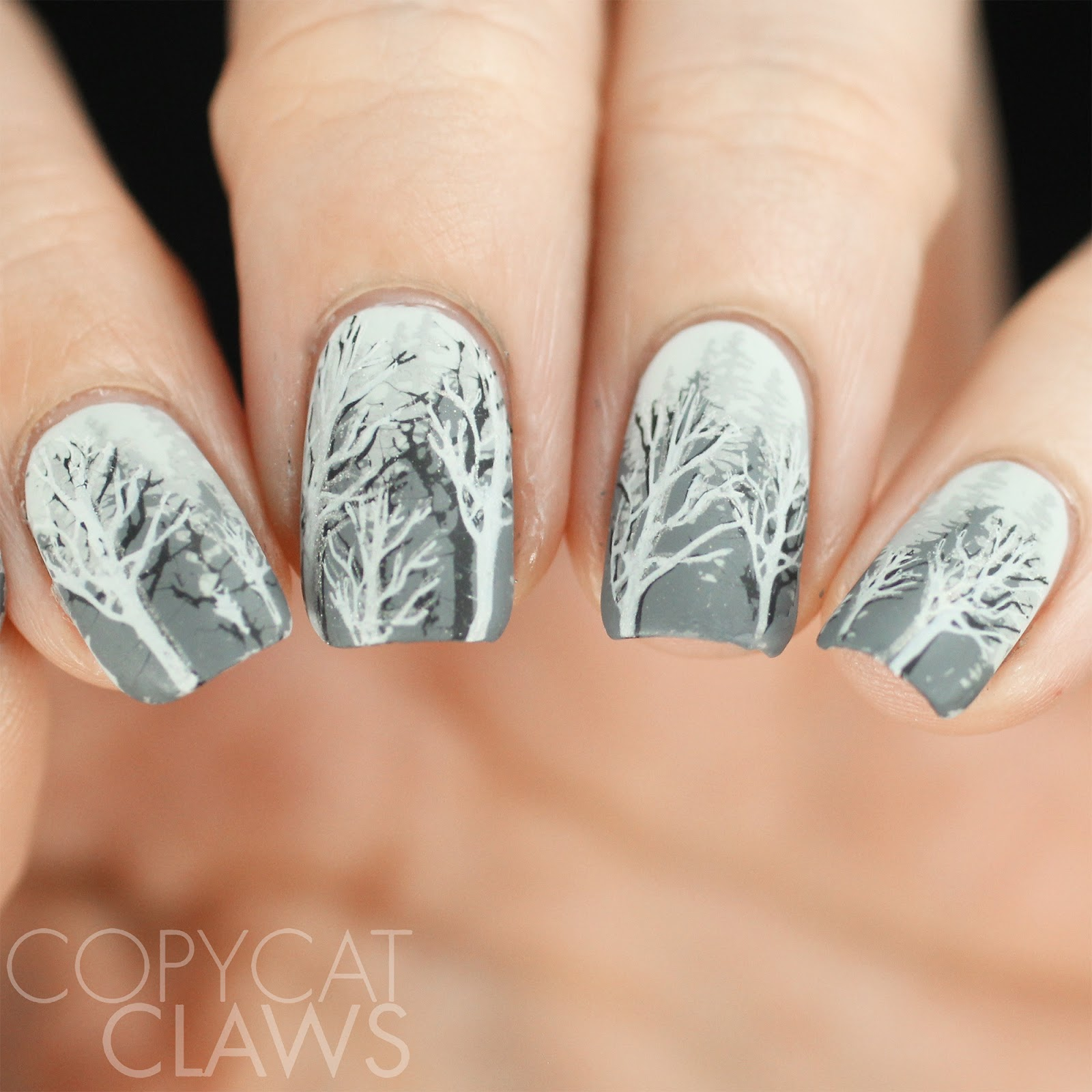 Copycat Claws: The Digit-al Dozen does December - Winter Trees