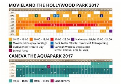 Calendario Caneva e Movieland 2017