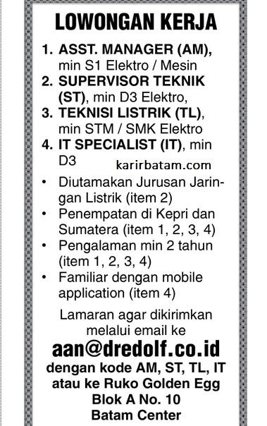 Lowongan Kerja PT. Dredolf Indonesia