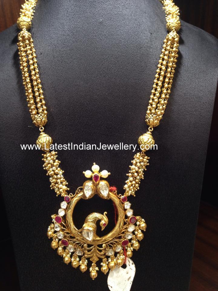 Peacock Pendant Gold Gundla Mala